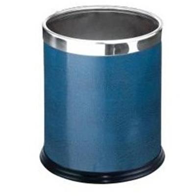 Thùng rác văn phòng vành inox sáng bóng bọc da màu xanh