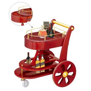 xe đẩy rượu bằng gỗ2 tầng
