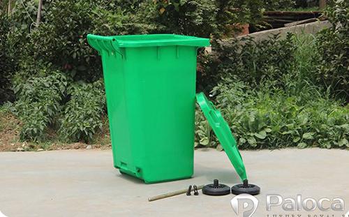 Thùng rác nhựa HDPE 120l khi chưa lắp ráp