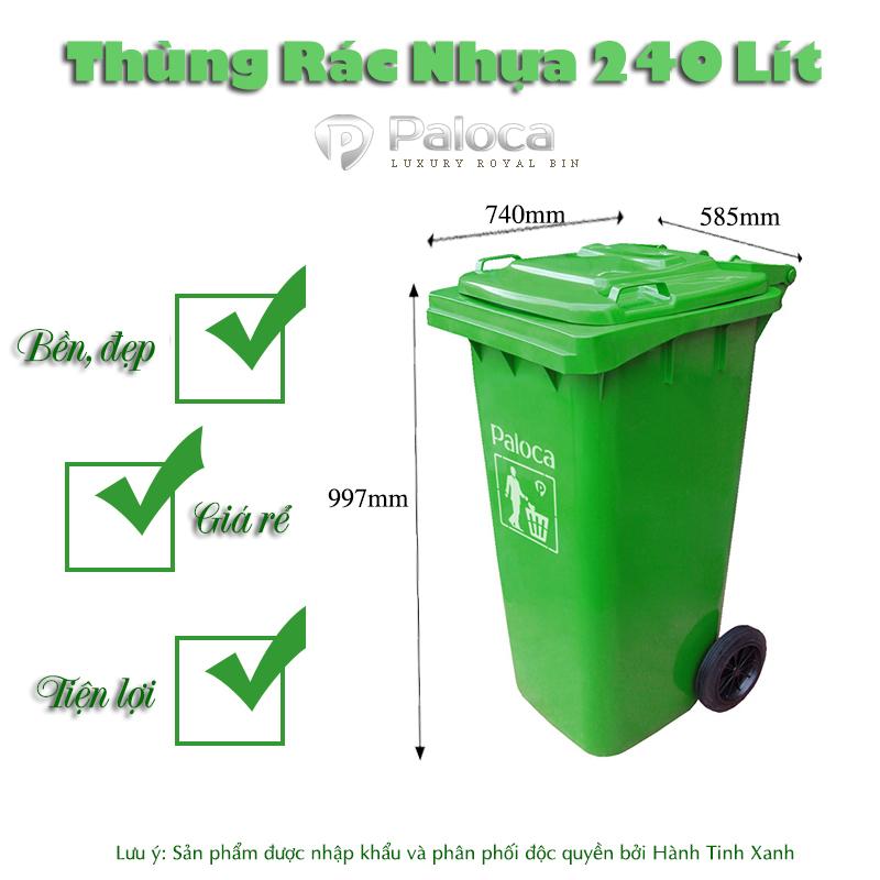 Thùng rác nhựa 240 lít màu xanh lá