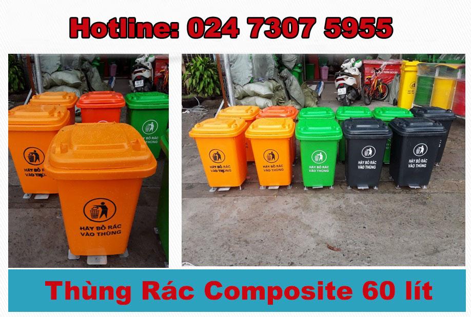 Thùng rác nhựa composite 60 lít giá rẻ