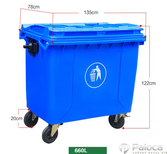 Kích thước thùng rác 660 lít
