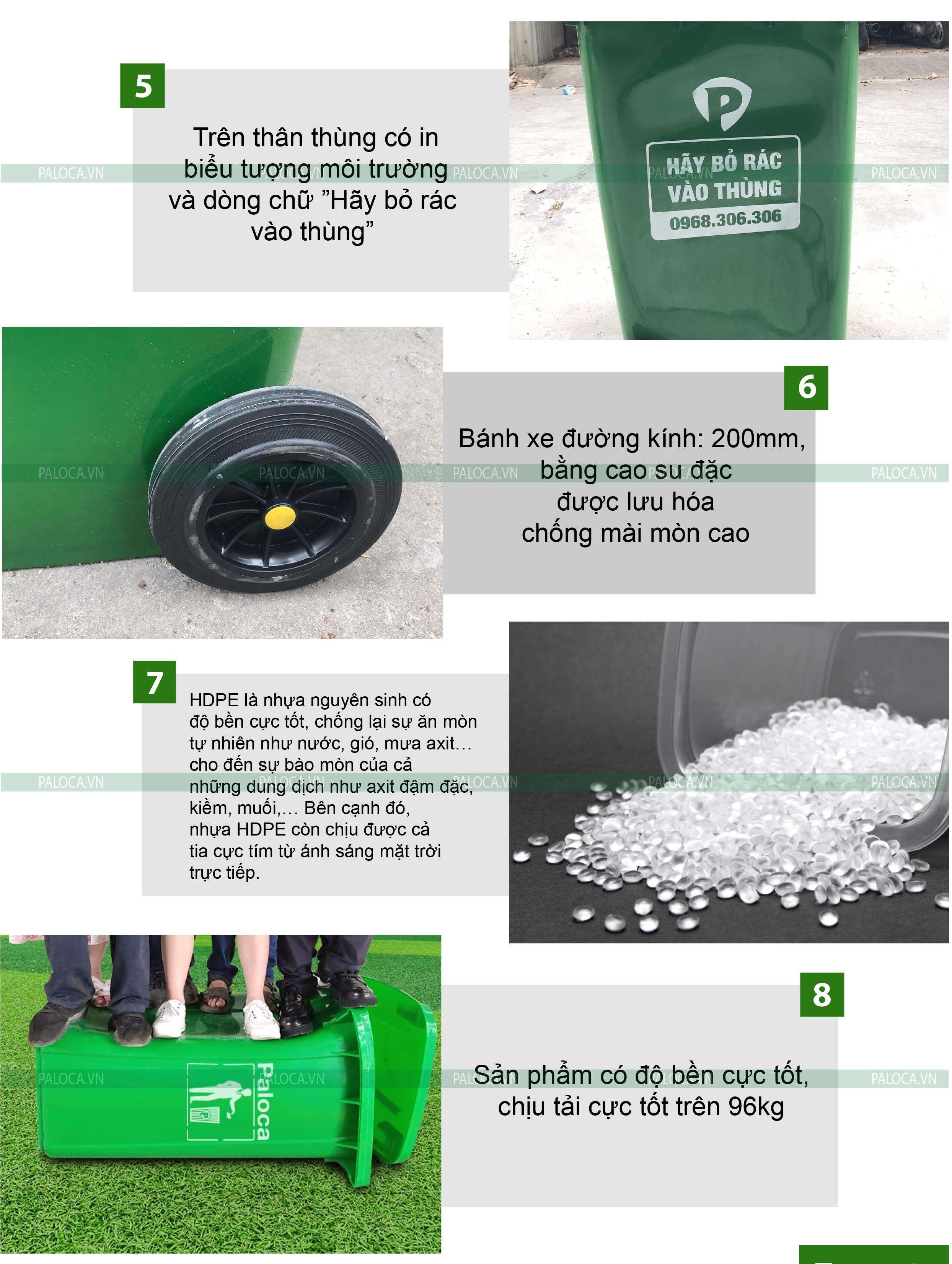 Thùng rác nhựa 240 lít Paloca
