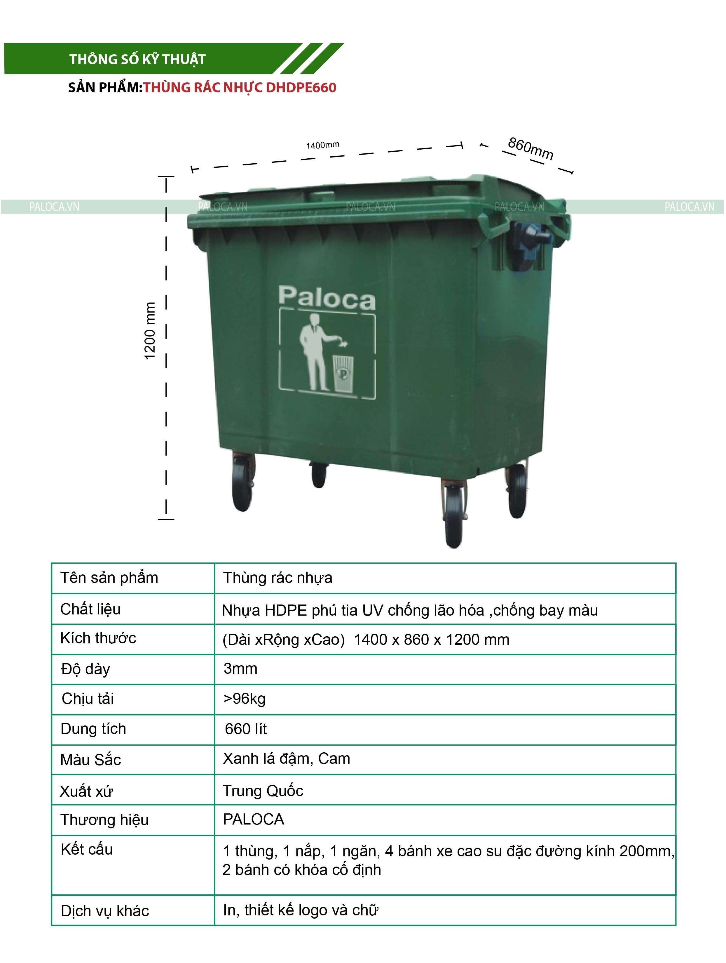 Thùng rác nhựa 660 lít thương hiệu Paloca
