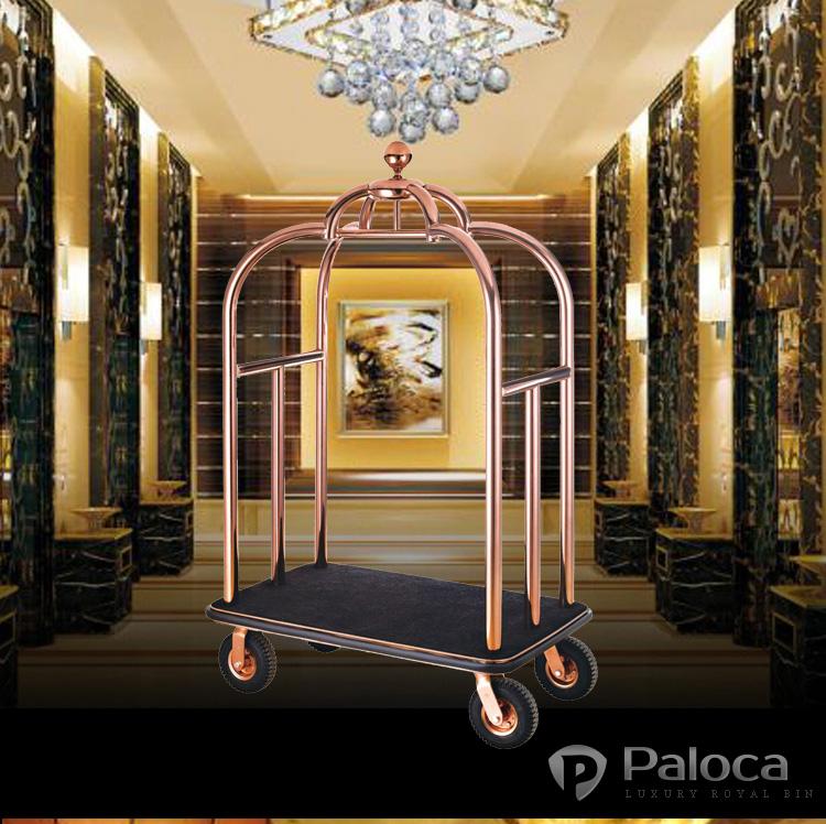 Xe chở hành lý khách sạn bằng inox mạ vàng giá rẻ