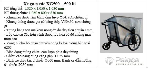 Xe thu gom rác 500 lít bằng tôn giá rẻ