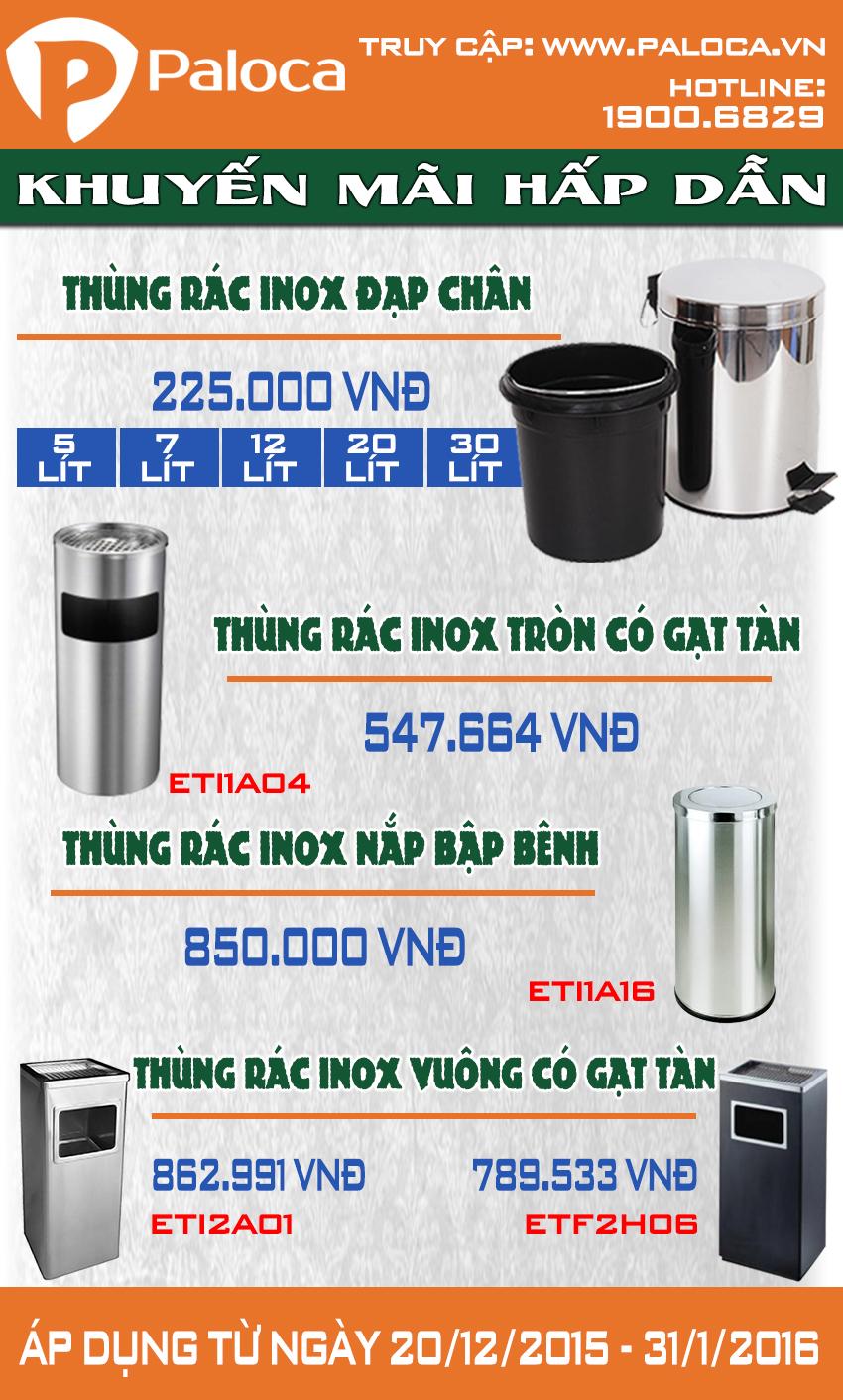 Thùng rác inox - Khuyến mại thùng rác inox trên toàn quốc