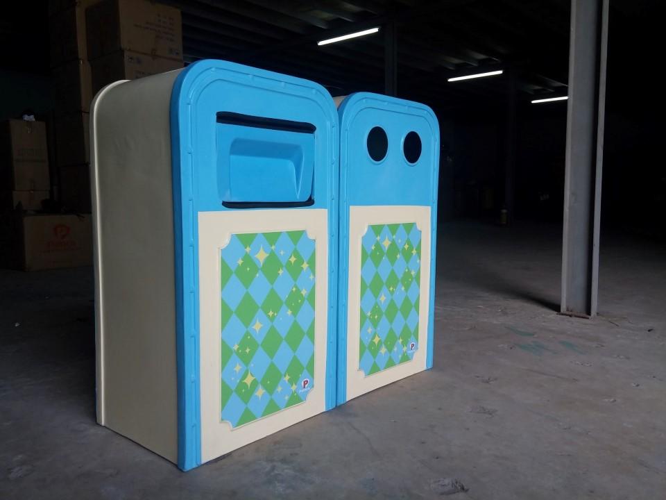 Thùng rác nhựa composite 2 ngăn