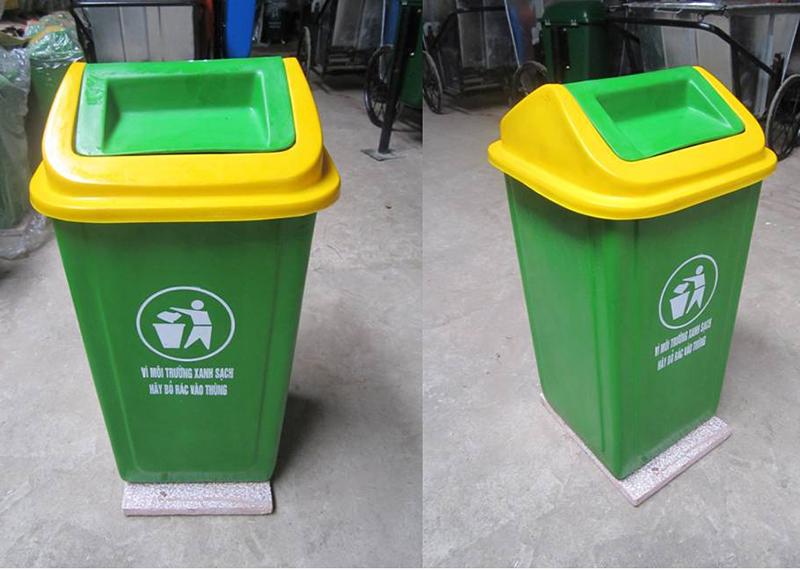 Thùng rác nhựa composite nắp lật 90 lít