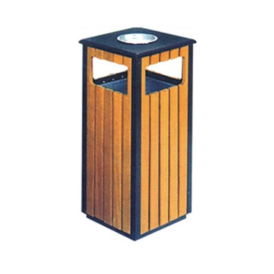 Sọt đựng rác bằng gỗ có gạt tàn thuốc lá