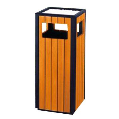 Thùng đựng rác bằng gỗ có gạt tàn thuốc lá