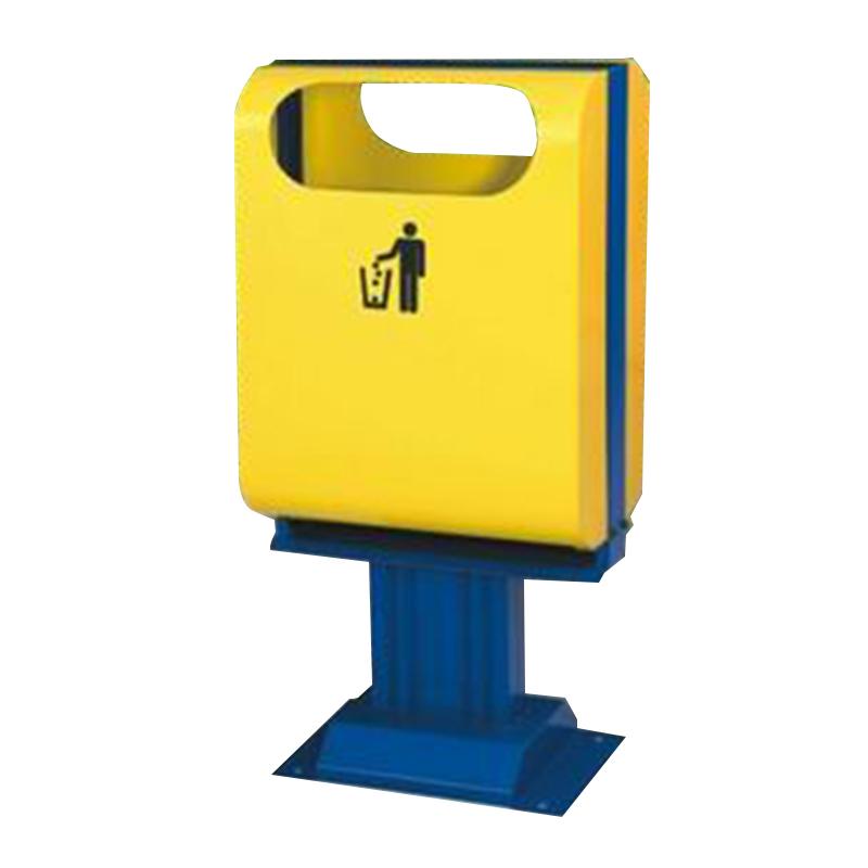 thùng rác công cộng bằng thép sơn màu vàng