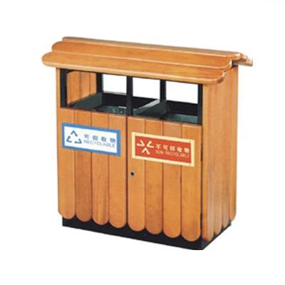 Thùng rác gỗ hai ngăn