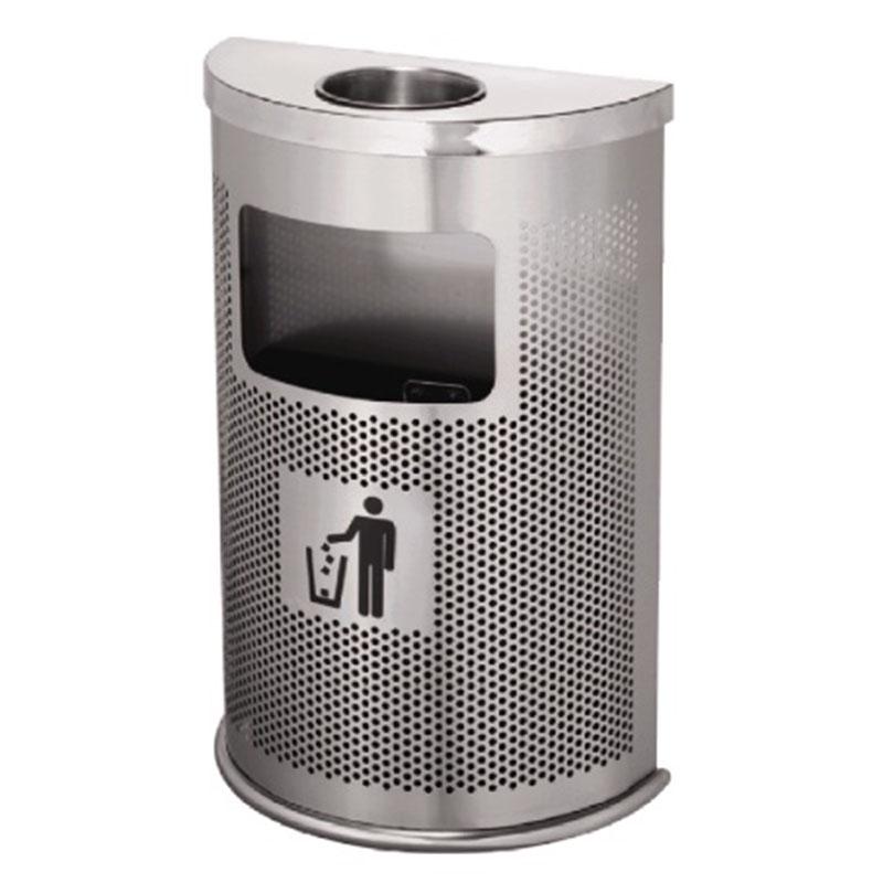 thùng rác inox bán nguyệt có khay gạt tàn