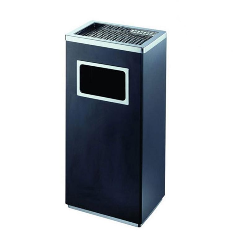 thùng rác inox chữ nhật có gạt tàn thuốc