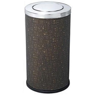 thùng rác inox tròn bọc da nắp bập bênh