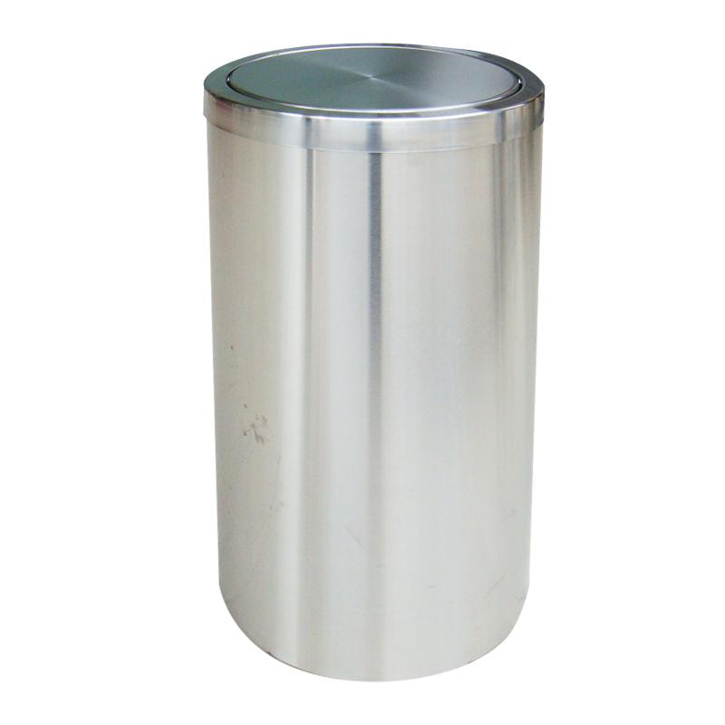 thùng rác inox tròn nắp bập bênh