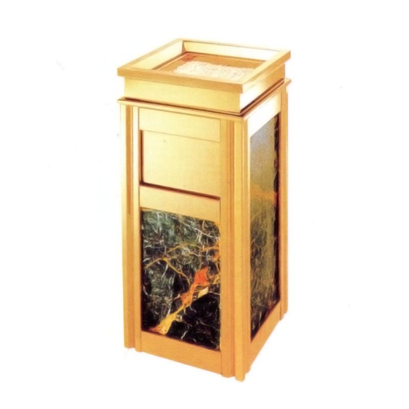 thùng rác inox vàng đá đỏ