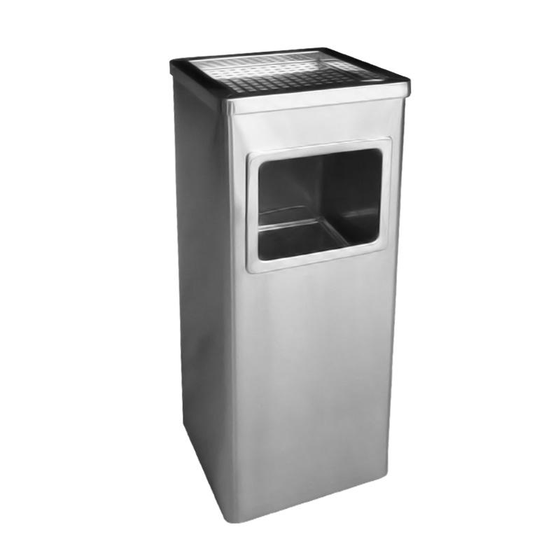 thùng rác inox vuông màu trắng có gạt tàn