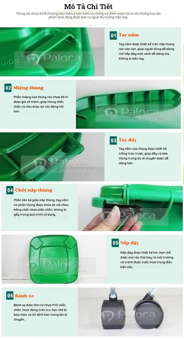 Thiết kế có nhiều ưu điểm vượt trội so với các dòng thùng rác nhựa trôi nổi, chất lượng kém trên thị trường