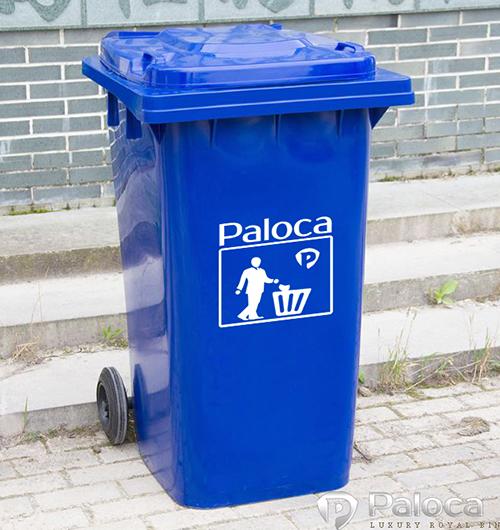 Thùng rác nhựa hdpe 120l màu xanh dương