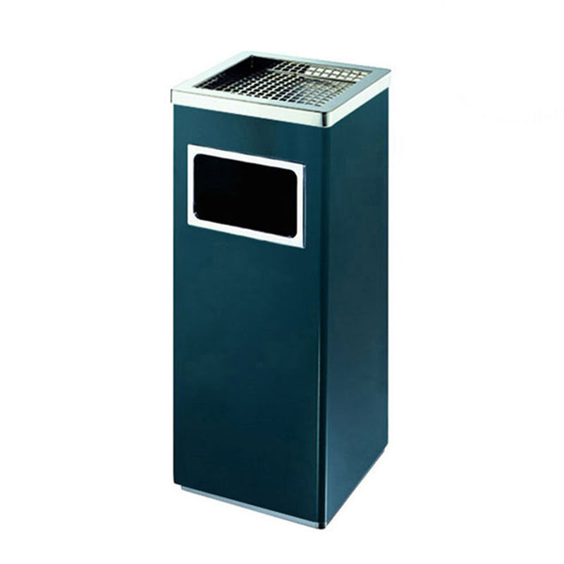 thùng rác vuông có gạt tàn thuốc
