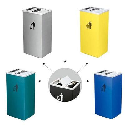 Thùng rác inox nắp lật có gạt tàn