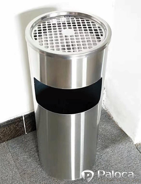 thùng rác inox trắng nắp gạt tàn