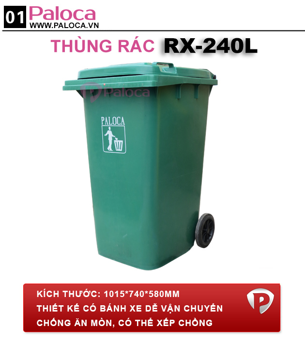 Thùng rác công nghiệp 120l 240l