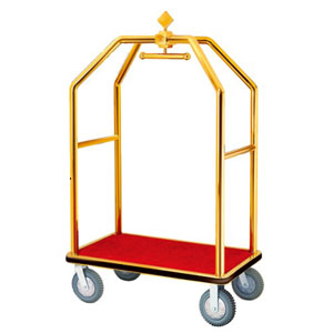 Xe đẩy hành lý khách sạn bằng inox mạ vàng D2-A